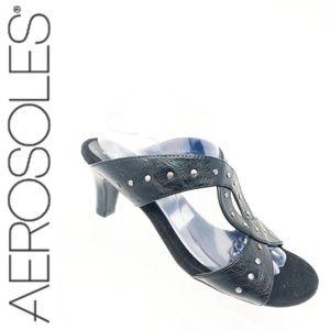 A2 Aerosoles Womens 9.5M Black Slip On Black Heels